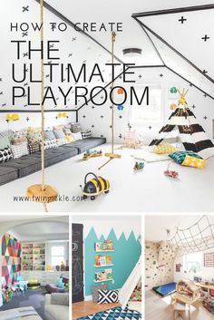 Creating the ultimate playroom requires many things. Your basics include toy storage, activities spaces, and of course it has to ooze fun factor! We're looking at reading nooks, jungle gyms, activity tables and much much more... playroom inspiration! #DIY
