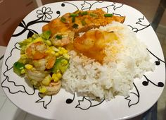 Salmon, rice and shrimp and avocado salad