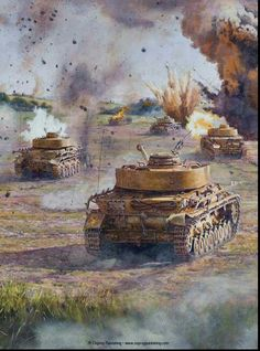 German Armour.  I really like this painting for its depiction of PzKw IV's moving forward in combat. Would make an amazing diorama.  John T. Kleptz
