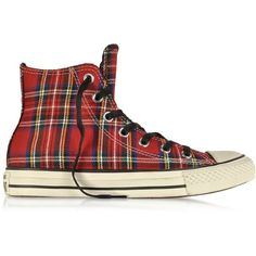 Converse Limited Edition All Star HI Textile Red Tartan Sneaker ($138) ❤ liked on Polyvore featuring shoes, sneakers, converse, flats, flat pumps, plaid flats, red flats, star shoes and red shoes