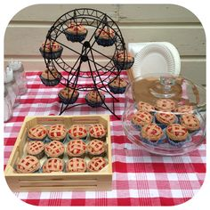 Country Fair birthday party cupcakes. Cupcakes that look like cherry pie!