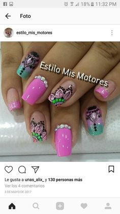 Uñas cata J Nails, Moon Nails, Sexy Nails, Pink Nails, Hair And Nails, Trendy Nail Art, Cool Nail Art, Really Cute Nails, Mandala Nails