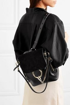 89dadf17459f4 Chloe Faye Small Textured-Leather And Suede Backpack