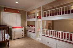 two cribs and loft bed guest room | This bunk bed guest room also has a crib. traditional kids by GDC ...