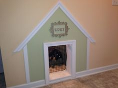Dog house under the stairs.