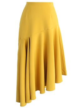 Gleeful Asymmetry Frill Hem Skirt in Yellow - New Arrivals - Retro, Indie and Unique Fashion