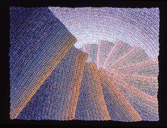 Elizabeth Tuttle, Golden Edged Spiral; Crocheted cotton sewing thread, 9x12 inches. 1980 to 1983 #warmtone #cooltone #ombre #geometricart #geometry #crochet #art #fineart #fiberart #fibreart #textile #textileart #domesticlife #domesticart #conceptualart #architecture #design #stairs #opticalillusion Cool Tones, Conceptual Art, Geometric Art, Optical Illusions, Textile Art, Fiber Art, Spiral, Pattern Design, Crochet Art