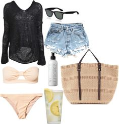 """""""inspired outfit for a day at the beach"""" by hayleycarbran ❤ liked on Polyvore"""