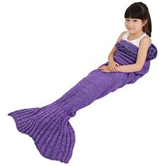 Kids' Blankets - BATTOP Mermaid Tail Knitted Blanket for kidsChild Purple ** You can find out more details at the link of the image.