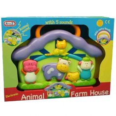 Animal Sounds electronic Farmhouse toy with carry handle from A to Z. With great portability, push to make one of five animal sounds: pig, cow, cat, chicken and sheep. Educational and fun. Suitable for ages 12 months and above.