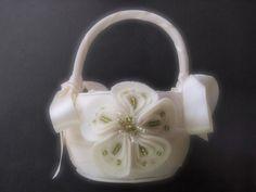 Flower Girl Basket Ivory Green Wedding by ArtisanFeltStudio
