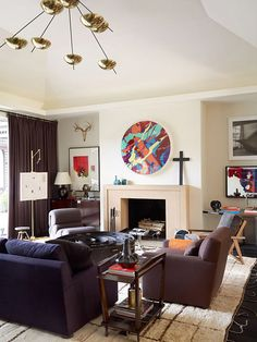 Robert Stilin - eclectic use of accent colors overlayed on a base color scheme Living Room Carpet, Living Rooms, Living Spaces, Luxury Interior Design, Interior Design Inspiration, Black Sofa, Eclectic Design, Home Decor Trends, Accent Colors