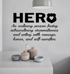 Vinyl Wall Lettering Police Officer Hero Definition Quote Badge Shield Decal Sticker