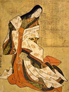 A ukiyo-e print of a woman wearing junihitoe.
