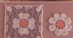 How to Crochet Flower, Make a Granny Square and Join Them - Knitting Bordado Motif Mandala Crochet, Crochet Flower Squares, Crochet Motifs, Crochet Stitches Patterns, Crochet Granny, Baby Blanket Crochet, Crochet Flowers, Crochet Baby, Embroidery Patterns