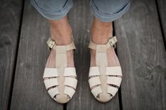 10 Sale Annie Nude Leather Sandals Flat Summer Shoes by abramey, $190.00
