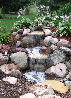 Possible idea for back left corner of yard, pondless waterfall