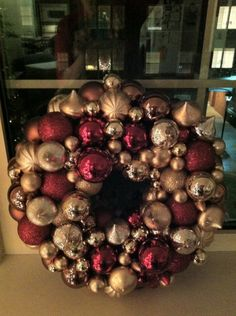 my first completed pinterest project - christmas ball wreath.