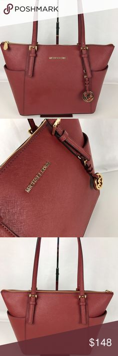 "Michael Kors Jet Set Saffiano Leather Tote - Brick Condition: New, with tag  Oh, the color! A multitude of pockets keeps you organized, while the top-zip design ensures your essentials stay put, wherever you may go. Saffiano Leather, 17""W x 11""H x 5""D, 10"" handle drop, top zip fastening, 1 padded pocket for small tablet, 2 open, 1 zipper pocket, 2 pockets on exterior. Style 30F2GTTT8L. Our bag # RB110   Thank you for your interest! No Trades please. Michael Kors Bags Totes"