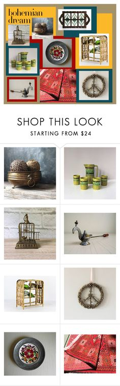 """Bohemian Dream"" by gazaboovintage ❤ liked on Polyvore featuring interior, interiors, interior design, home, home decor, interior decorating, MCM and vintage"