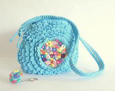 Bolso turquesa bolso crochet y bordado accesorios para por pipocass, €72,00