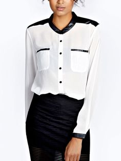 Long Sleeve Contrast PU Pocket Shirt 7.90