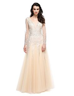 2017 TS Couture® Formal Evening Dress A-line V-neck Floor-length Tulle with Beading