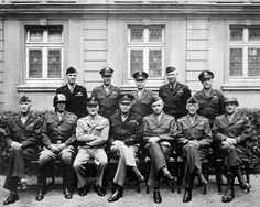 U.S. general officers World War II Europe. Seated are (from left to right) Gens. William H. Simpson George S. Patton Carl A. Spaatz Dwight D. Eisenhower Omar Bradley Courtney H. Hodges and Leonard T. Gerow; standing are (from left to right) Gens. Ralph F. Stearley Hoyt Vandenberg Walter Bedell Smith Otto P. Weyland and Richard E. Nugent.