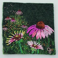 Large photo of Coneflower 1 Hand Embroidery Designs, Beaded Embroidery, Cross Stitch Embroidery, Beaded Flowers Patterns, Beading Patterns, Seed Bead Art, Beads Pictures, Native Beadwork, Dot Art Painting