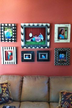 Painted and distressed picture frame set Comes with 8 frames in sizes 4x6 8x10 and 16x20