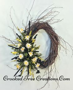 Wildflower Birch Wreath With Green, Yellow And Black Accents