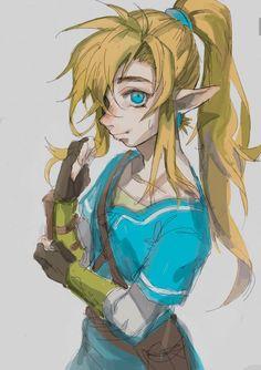 I really like this androgynous Link artwork by @anokoid | #ZeldaBotW #ZeldaBreathoftheWild