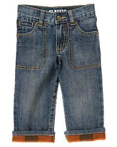 Plaid Flannel Cuffed Jean