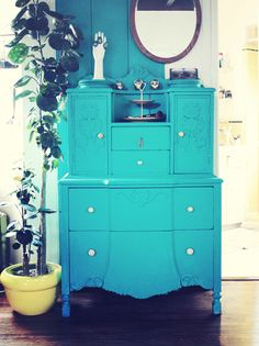 Turquoise Painted Dresser...Love the Matching Stripe On The Wall ♥