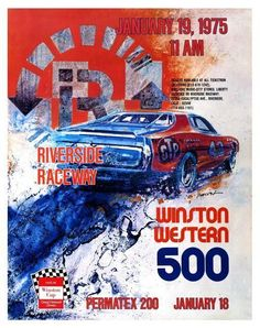 Car Racing LARGE POSTER Winston Western 500 Plymouth HEMI January 1975 Riverside