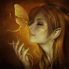 Mariposas by *ElenaDudina. Gold. Fantasy Art.  I would love this as a tattoo!!