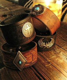 Rocker and biker cool Bad ASS custom made leather cuffs by Matt Dougan only at IronCrowVintage