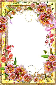 Vibrant Flower border page. So Pretty! Frame Border Design, Page Borders Design, Photo Frame Design, Old Paper Background, Frame Background, Picture Borders, Boarders And Frames, Printable Frames, Art Carte