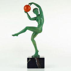MAX LE VERRIER 1930s ART DECO Nude Ball Dancer SCULPTURE JEUNESSE by BRIAND