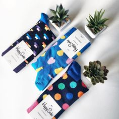 Three's always happy company. Sock Display, Happy Socks, Coin Purse, Gift Wrapping, Creative, Studio Shoot, Instagram Ideas, Coloring, Underwear