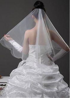 14.99USD. (Blanc) Belle voile de quatre couches d'organza blanc correspondante à votre robe de mariée élégante