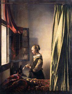 Açık Pencere Önünde Mektup Okuyan Genç Kız / Girl Reading a Letter at an Open Window