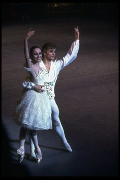 """New York City Ballet production of """"Coppelia""""; scene from Act 3 with Patricia McBride and Mikhail Baryshnikov, choreography by George Balanchine and Alexandra Danilova after Marius Petipa (New York)"""