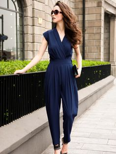 Blue Sleeveless V Neck Jumpsuit - Sheinside.com