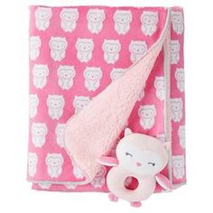 Just One You™ Made by Carter\'s® Girls\' Rattle Blanket - Pink Owls : Target