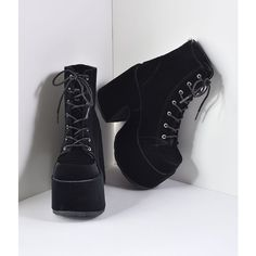 73e3971ae86 Black Velvet Lace Up Camel Platform Boots ( 86) ❤ liked on Polyvore  featuring shoes