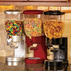 Cereal dispensers. If I had WAY more counter space, I would love to do a 'breakfast bar' with our coffee maker, toaster and these! About $19.99.