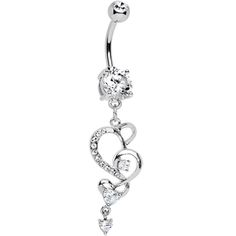 Crystalline Gem Intricate Hearts Dangle Belly Ring  #piercing #bodycandy #gift $9.99
