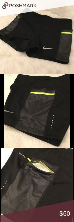 "NWT Nike Power Trail Boyshort The Nike Women's Power Trail Boyshort is designed for the trail athlete that enjoys running the extra distance.  Multiple storage options along waistband including a zipper side pocket, allow you to carry your favorite nutrition gels or bars that will keep you fueled through long runs.  Waistband 3"", inseam: 3.5"".  Rear stash pocket, side stack pocket, side zipper pocket, waist stash pocket.  82% polyester, 18% spandex.  Adjustable internal drawcord.  Reflective…"