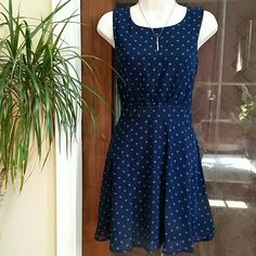 """NWT Forever 21 Prety Blue dots Open Back Dress SzM New With Tag Super Cute Blue Polka-dots Dress from Forever 21. Open V shape at the back. Size M. Length 34""""/ 26""""-27"""" Waist / 38""""-40 Bust. Shell 100 % Polyester,  Lining 100% Polyester Forever 21 Dresses Midi"""